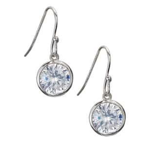 Sterling Silver 7 ct. Large Bezel Set CZ Dangle Earrings