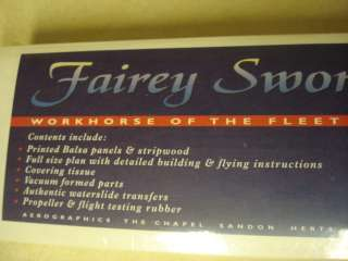 AERO GRAPHICS ** FAIREY SWORDFISH F/F MODEL AIRPLANE KIT ** FACTORY