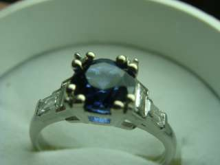 Vintage Platinum Sapphire & Diamond Engagement Ring