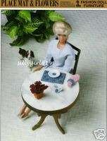 PLACEMAT & FLOWERS~Plastic Canvas Pattern~FASHION DOLL