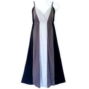 3X Plus Size Braided Straps 3 Tone Jersey Maxi Dress Black Gray