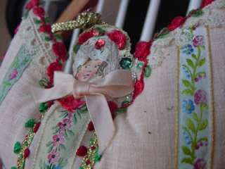 scrap & cotton embroidery trim VICTORIAN CHRISTMAS ORNAMENT OOAK angel