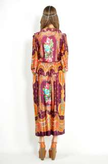 Vtg 70s Colorful ETHNIC BELL SLEEVE Paisley BOHO HIPPIE Festival MAXI