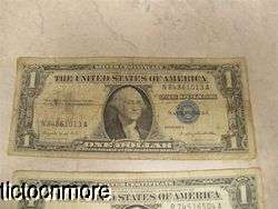 US 1957 A 1957 B $1 DOLLAR BILL SILVER CERTIFICATES BLUE SEAL SMALL