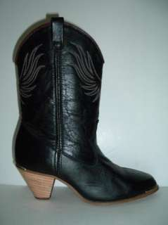 DINGO Black/Red Western Boots Womens 7 Gold Heel & Toe Bands 2.5