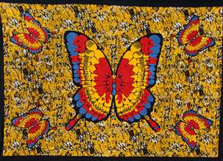 HORIZONTAL BEAUTIFUL RED&YELLOW BUTTERFLY TWIN TAPESTRY THROW TABLE