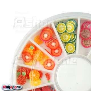 120 PCS 3D Mix Fruit Fimo Nail Art Tips UV Acrylic Wheel