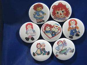 RAGGEDY ANN & ANDY FAVORITE 7 NEW PINS BUTTONS BADGE