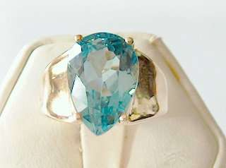 NEW 6CT PEAR SHAPED GENUINE LONDON BLUE TOPAZ RING 10KT SOLID GOLD