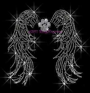 PAW PRINT ANGEL WINGS RHINESTONE IRON ON TRANSFER BLING
