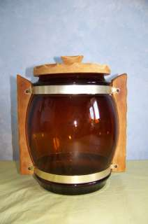 Siesta Ware large amber glass cookie jar w/wood handles