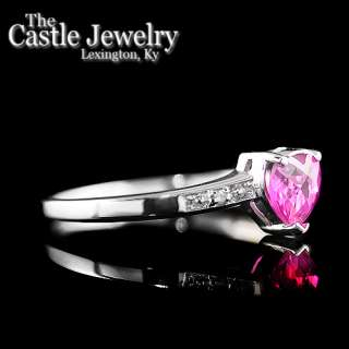 Heart Shaped Synthetic Ruby .02 CTTW Round Illusion Set Diamond 10 K