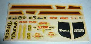 original vintage 1973 MPC #7307 DODGE CHARGER model kit decals
