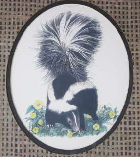 Skunk Smelling the Flowers Print by Linda Pickens Framed Double Matted