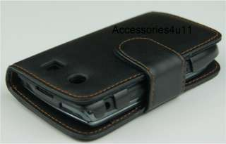 BLACK LEATHER CASE FOR BLACKBERRY TORCH 9800