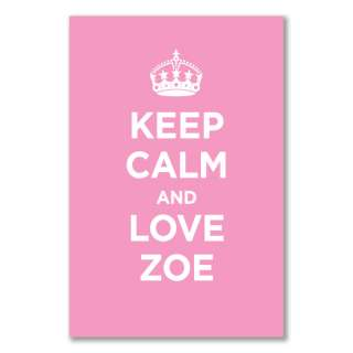 A2+ satin poster KEEP CALM AND LOVE ZOE LIGHT PINK WW2 WWII PARODY