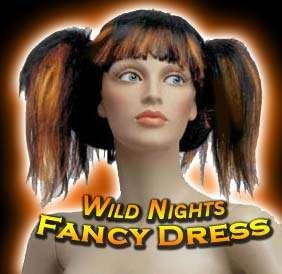 FANCY DRESS WIG  WILD CYBER SUSHI WIG BLACK / ORANGE