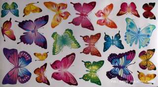 21 Colourful Butterflies Wall Art Stickers Wall Decals