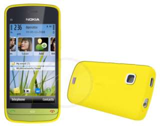 Yellow Soft Silicone Case Cover For Nokia C5 03 + Film