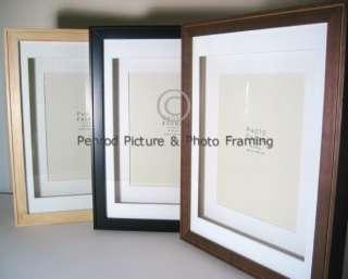Photo Frames Twin Mount   Natural Black Dark Brown 6x4 10x8