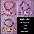 Set Orecchini e Collana Fiore Hawaiano Fimo 3 colori viola marrone