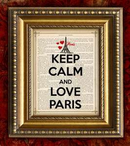 KEEP CALM and LOVE PARIS Print on Vintage Book Page