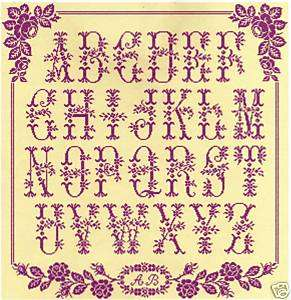 Grille point de croix abecedaire aux boutons de roses - Grille abecedaire point de croix ...