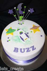 EDIBLE BOYS BIRTHDAY CAKE BUZZ ROCKET DECORATION