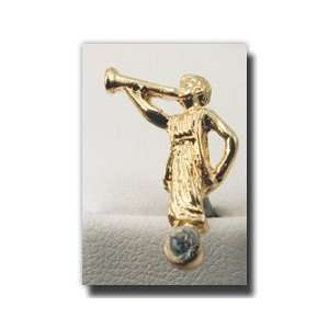 Tie Tack (Gold and Crystall)   Gold Color Angel Moroni Lapel Pin