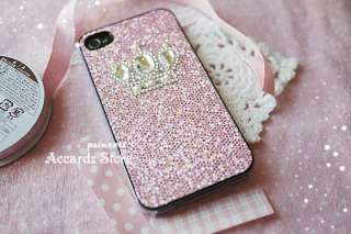 Crown pink Bling Hard Case Cover iPhone 4 4G