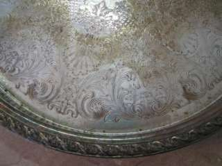 WILLIAM ROGERS & SONS Spring Flower SILVER PLATED TRAY 15 SilverPlate