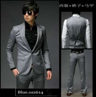 New Mens Slim Fit one Button Suits Pants Vest Dress X01