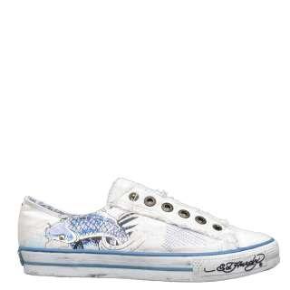 Ed Hardy White Lowrise Danette Koi Fish Sneaker for Women