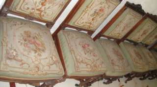 ANTIQUE FRENCH 8 MATCHING CARVED DINING ROOM CHAIRS GORGEOUS AUBUSSON