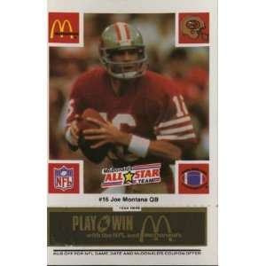 Joe Montana San Francisco 49ers McDonalds NFL Play & Win 1986