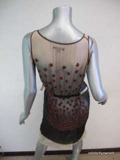 Rozae Nichols Gray Ombre Red Beaded Sheer Dress P