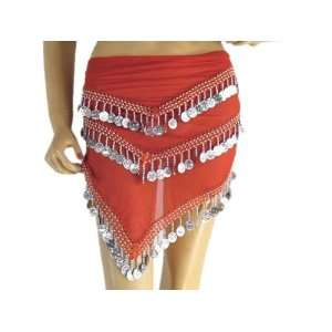 Red Hip Scarf Wrap Tribal Belly Dance Clothing Attire