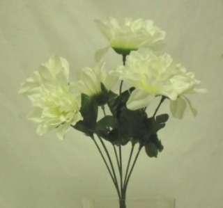72 DAHLIA IVORY CREAM Silk Flower Bush Wedding Bridal Bouquet