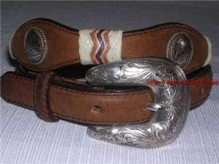 66 TONY LAMA Silver Plated Concho/Buckle Black Western Leather Belt