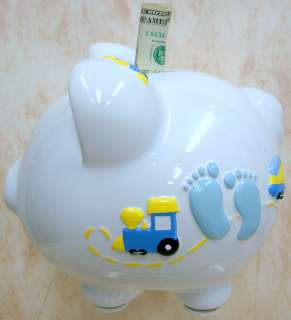 PIGGY Bank Baby Boy Feet Train RAISED CR100BBFEET