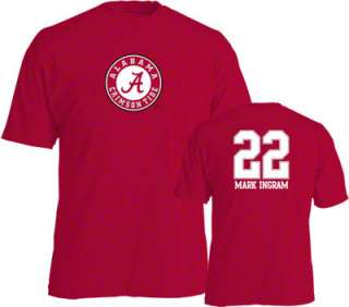 Mark Ingram #22 Name and Number Alabama Crimson Tide Youth T Shirt