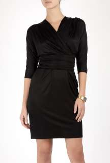 Paul Smith Black  Black Cropped Sleeve Wrap Dress by Paul Smith Black