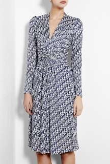 Issa  Pacific Blue False Wrap Printed Silk Jersey Dress by Issa