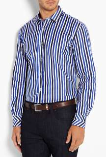Paul Smith London  Navy Wide Stripe Split Cuff Shirt by Paul Smith