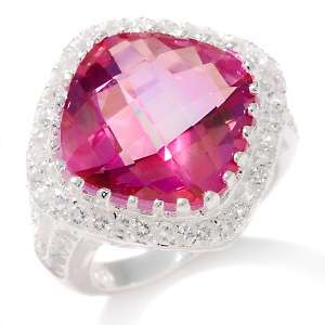 Enhanced Pink Quartz and White Topaz Sterling Silver Ring