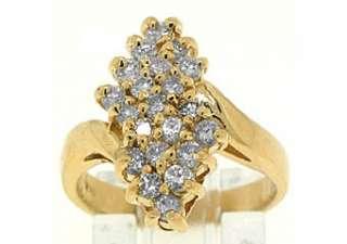 WOMENS LADIES 1 CARAT ROUND CUT DIAMOND COCKTAIL RING PRONG SET 14KT