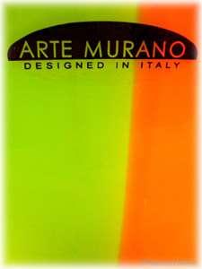 Hand Blown Murano Art Glass Fused Orange Green Vase