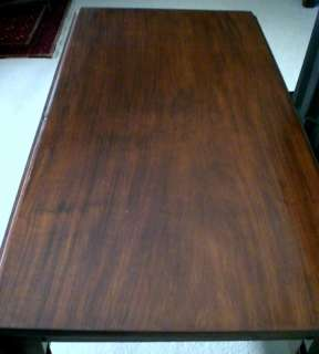 American Sheraton Period Solid Mahogany Drop Leaf Antique Dining Table