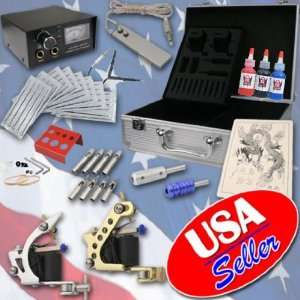COMPLETE Tattoo Kit 2 Machines Pro Gun Power Supply Ink