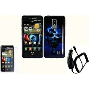 Blue Skull Hard Case Cover+LCD Screen Protector+Car